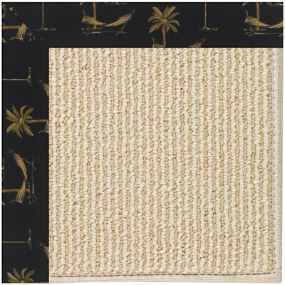 Zoe Machine Tufted Jet Black/Brown Indoor/Outdoor Area Rug Rug Size: Square 8