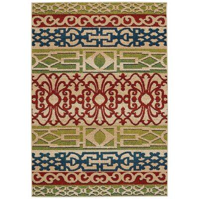 Greenwich Balcony Machine Woven Beach and Beige  Indoor/Outdoor Area Rug Rug Size: 310 x 55