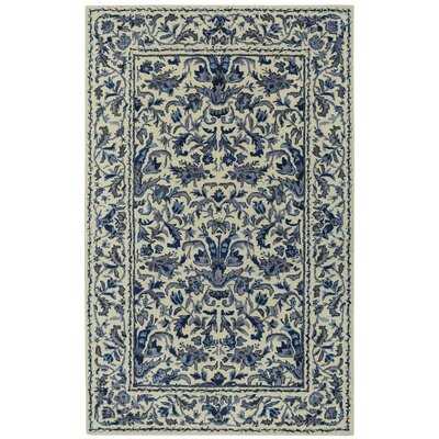 Garden Farms #3 Hand Tufted Beige/Azure Area Rug Rug Size: 8 x 11