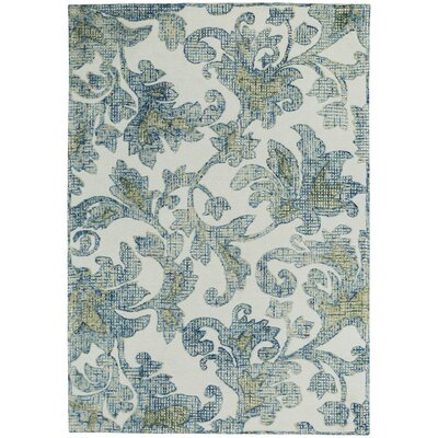 Highlands Hand Tufted Cream Blue Area Rug Rug Size: 7 x 9