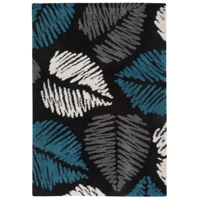 Glendale Machine Woven Ebony Area Rug Rug Size: 53 x 76