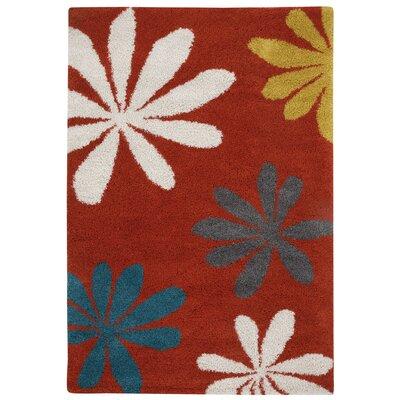 Glendale Machine Woven Cinnamon Blossom Area Rug Rug Size: 53 x 76