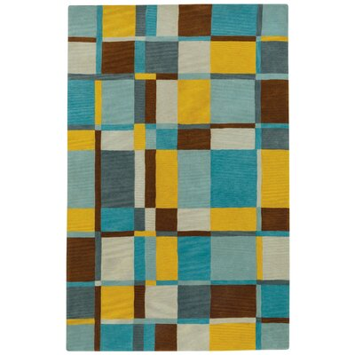 Left Bank Hand-Tufted Blue/Yellow Area Rug Rug Size: 7 x 9