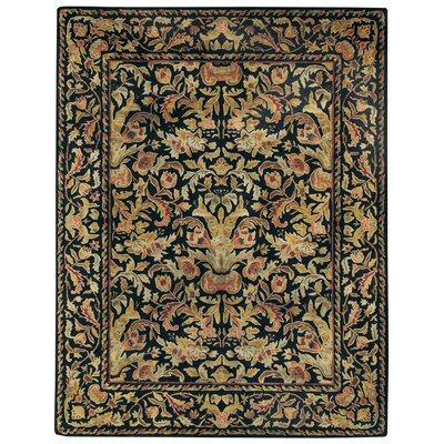 Garden Farms Black Floral Area Rug Rug Size: Rectangle 7 x 9