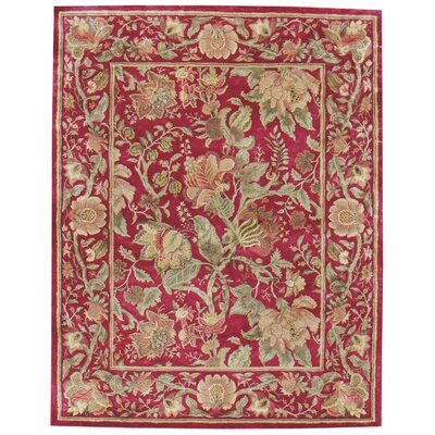 Garden Farms Red Floral Area Rug Rug Size: Round 5
