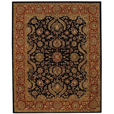 Monticello Palmette Onyx/Rust Area Rug Rug Size: 10 x 14