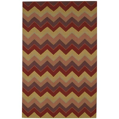 Irish Stitch Berry/Khaki Area Rug Rug Size: 7 x 96