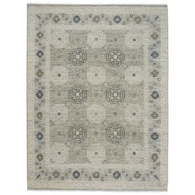 Burmesse Hand-Knotted Silver Area Rug Rug Size: 5'6