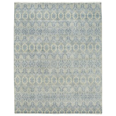 Burmesse Hand-Knotted Azure Area Rug Rug Size: 10 x 14