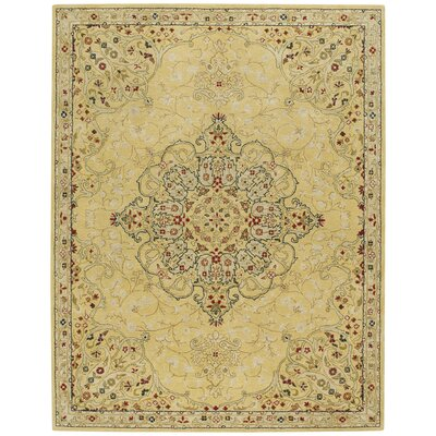 Smyrna Hand-Tufted Yellow Area Rug Rug Size: 7 x 9