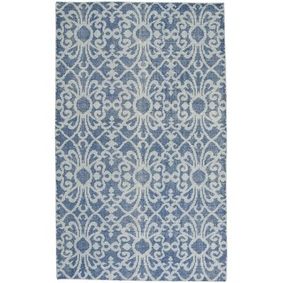 Classic Hand-Knotted Denim Area Rug Rug Size: 5 x 8