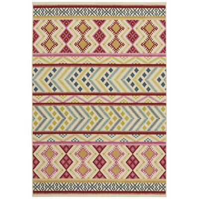 Pillar Blossom Pink Indoor/Outdoor Area Rug Rug Size: 52 x 76