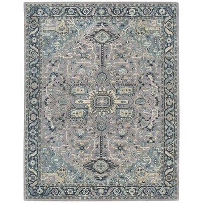 Smyrna Hand-Tufted Silver/Azul Area Rug Rug Size: 3 x 5