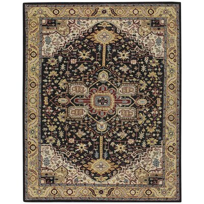 Smyrna Hand-Tufted Ebony/Yellow Area Rug Rug Size: 96 x 136