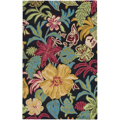 Blooming Hand-Tufted Ebony Area Rug Rug Size: 5 x 8