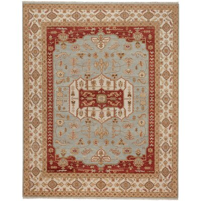 Biltmore Hand-Knotted Gray/Cream Area Rug Rug Size: 76 x 96
