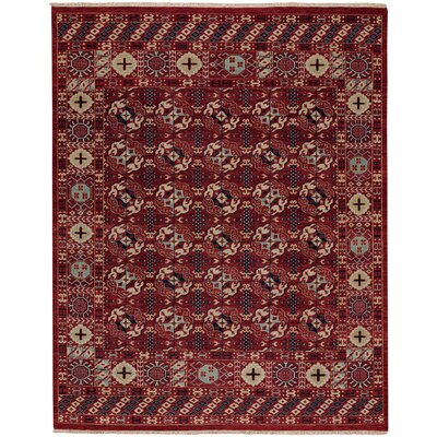 Biltmore Hand-Knotted Deep Red Area Rug Rug Size: 96 x 136