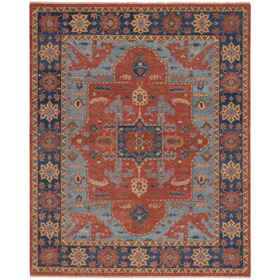 Biltmore Hand-Knotted Cinnamon/Deep Blue Area Rug Rug Size: 86 x 116