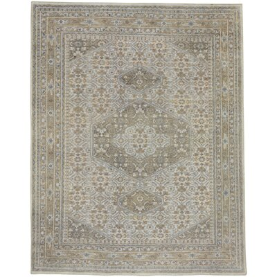 Cannae Hand-Knotted Light Tan/Pale Blue Area Rug Rug Size: 8 x 10