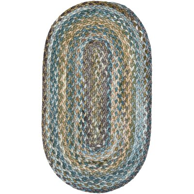 Berkshire Braided Green/Blue Area Rug Rug Size: Oval 114 x 144