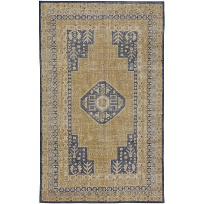 Caria Hand-Knotted Golden/Dark Blue Area Rug Rug Size: 56 x 86