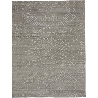Cannae Hand-Knotted Dark Gray Area Rug Rug Size: 56 x 86