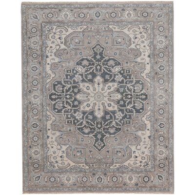 Biltmore Hand-Knotted Beige/Gray Area Rug Rug Size: 56 x 86