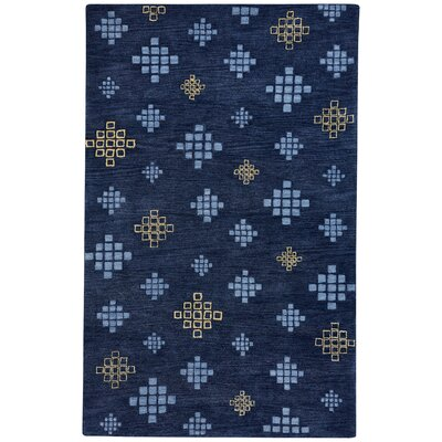 Geneva Hand-Tufted Blue Blond Area Rug Rug Size: 33 x 53
