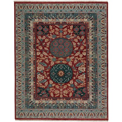 Biltmore Plantation Journet Hand-Knotted Dark Red/Blue Area Rug Rug Size: 86 x 116