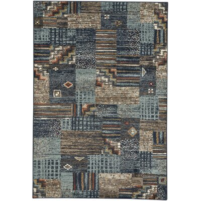 Pilesgrove Panel Blue/Brown Area Rug Rug Size: 27 x 47