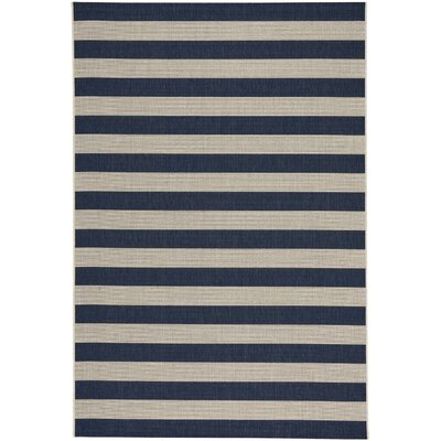 Palm Cove Stripe Blue/Beige Indoor/Outdoor Area Rug Rug Size: 53 x 76