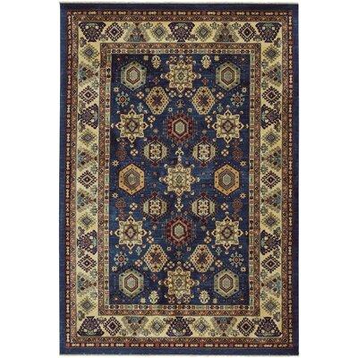 Chardae Ushak Blue/Beige Area Rug Rug Size: 9 x 13