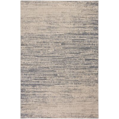 Junie Skyline Wool Beige/Blue Area Rug Rug Size: 53 x 76