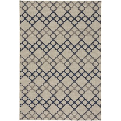 Anabelle Santorini Blue/Beige Outdoor Area Rug Rug Size: 53 x 76