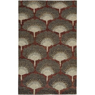 Chappell Hand-Knotted Red/Gray Area Rug Rug Size: 36 x 56