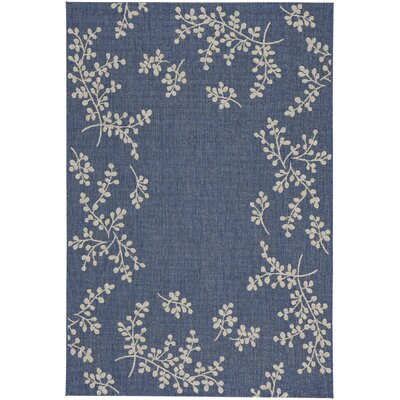 Jacqueline Winterberry Blue Outdoor Area Rug Rug Size: 53 x 76