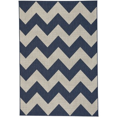 Palm Cove Chevron Blue/Beige Indoor/Outdoor Area Rug Rug Size: 53 x 76
