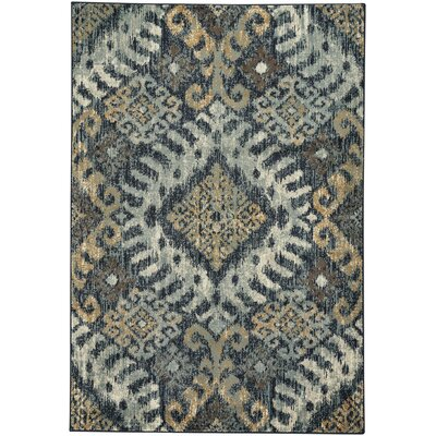 Pilesgrove Diamond Teal/Yellow Area Rug Rug Size: 27 x 47