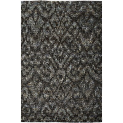 Dunsmore Hand-Knotted Black Area Rug Rug Size: 5 x 8