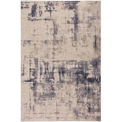 Sasha Mirage Wool Beige/Purple Area Rug Rug Size: 53 x 76