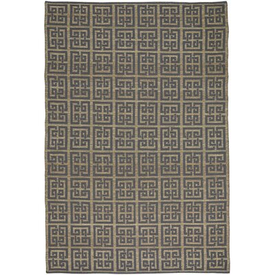 Maci Flat Cotton Blue/Brown Area Rug Rug Size: 5 x 8