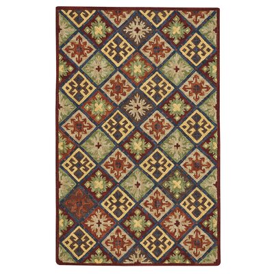 Oribe Quilt Hand-Tufted Wool Green/Brown/Red Area Rug Rug Size: 36 x 56