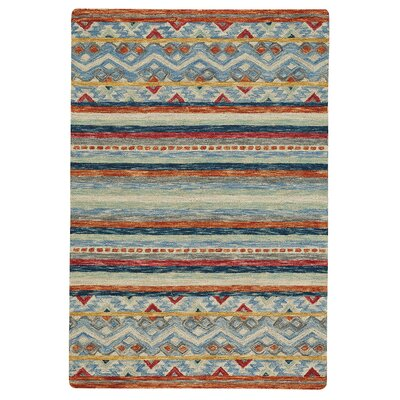 Sheraden Hand-Tufted Wool Blue/Red Area Rug Rug Size: 36 x 56