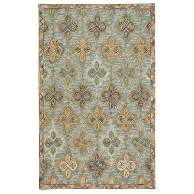 Jacqulyn Hand-Tufted Wool Blue/Beige/Red Area Rug Rug Size: 36 x 56