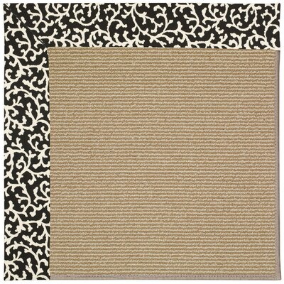 Zoe Machine Tufted Black Cascade and Beige Indoor/Outdoor Area Rug Rug Size: Round 12 x 12