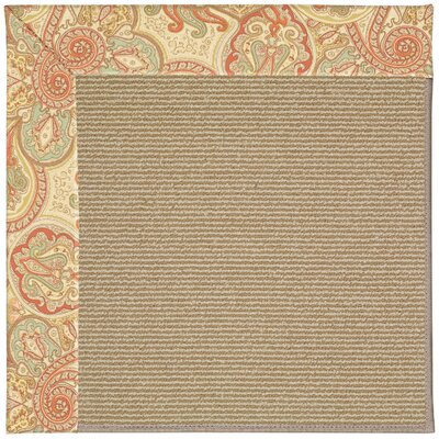Zoe Machine Tufted Auburn and Beige Indoor/Outdoor Area Rug Rug Size: Round 12 x 12