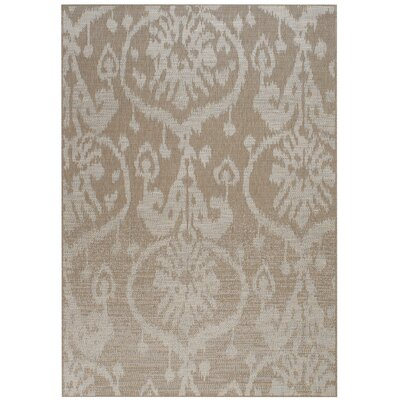 Udorn Tan Sunburst Indoor/Outdoor Area Rug Rug Size: Rectangle 53 x 76