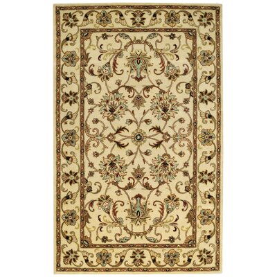 Guilded Hand-Tufted Ivory Area Rug Rug Size: 26 x 36