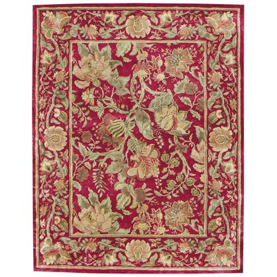 Garden Farms Red Floral Area Rug Rug Size: Round 86