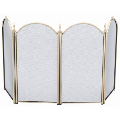 Four Fold Polished Brass Fireplace Screen With Handles